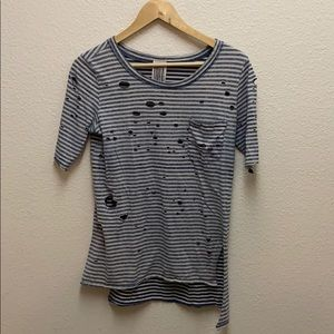 Free People Distressed Striped T-shirt